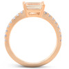 1.21Ct Yellow Amethyst Lab Grown Diamond Sideways Emerald Ring 14k Rose Gold (G, VS)
