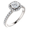 1 Ct Cushion Halo EX3 Lab Grown Diamond Engagement Ring 14k White Gold (((G-H)), VS1)