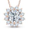 1 1/2 Ct Diamond (1ct center) Halo Pendant 14k Rose Gold Womens Necklace (G/H, SI)