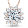 1 1/2 Ct Diamond (1ct center) Halo Pendant 14k Rose Gold Womens Necklace (G/H, SI)