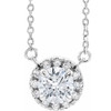 1/2 Ct Lab Grown Diamond Halo Necklace 14K White Gold (((G-H)), SI(1)-SI(2))