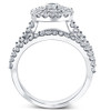 1 1/10 Ct Lab Grown Diamond Cushion Halo Engagement Wedding Ring Set White Gold (((G-H)), SI(1)-SI(2))