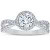 1 Ct Halo Intertwined Diamond Engagement Ring 14k White Gold (G/H, I1-I2)