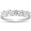 1 1/4 Ct EX3 Lab Grown Diamond Five Stone Wedding Ring 14k White Gold U Prong (((G-H)), SI(1)-SI(2))