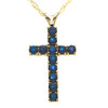 """1 1/5 Ct Genuine Blue Sapphire Cross Pendant Necklace 18"""" Yellow Gold 1"""" Tall (Blue, I2-I3)"""