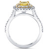 1 5/8Ct Diamond Fancy Yellow Cushion Engagement Ring 14k Gold SZ 7 (HI, SI)
