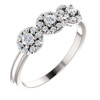 1/2 Ct Three Stone Lab Grown Diamond Halo Engagement Ring White Gold (((G-H)), SI(2)-I(1))