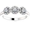 1/2 Ct Three Stone Lab Grown Diamond Halo Engagement Ring White Gold (((G-H)), SI(2)-I(1))