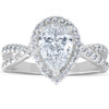 1.60Ct Pear Shape Halo Diamond Twist Engagement Ring 14k White Gold (H/I, SI1-SI2)