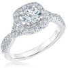 1 1/4 Ct Diamond Cushion Halo Criss Cross Engagement Ring 10k White Gold (G/H, I1-I2)