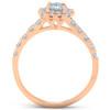 1 1/4 Ct Diamond Cushion Halo Engagement Wedding Ring Set 14k Rose Gold (H/I, I1-I2)