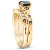 1 3/4 Ct Black & White Diamond Engagement Wedding Ring Set 10k Yellow Gold (H/I, I1)