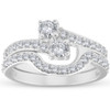1 1/2 Ct Diamond Engagement Two Stone Forever Us Ring Set White Gold (H/I, I1-I2)