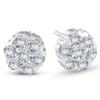 1 1/2 Ct Diamond 14-Stone Studs 14k White Gold (H, I2)