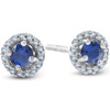1/4 Ct Halo Diamond & Blue Sapphire Studs 10K White Gold (G/H, I1)