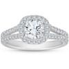 1Ct Diamond Cushion Halo Moissanite Split Shank Engagement Ring 10k White Gold (H/I, SI1-SI2)