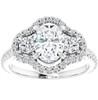 1 3/4 Ct Three Stone Halo Diamond & Oval Moissanite Engagement Ring White Gold (G, SI)