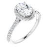 1 1/2 Ct Halo Diamond & Oval Moissanite Engagement Ring White Gold
