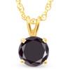 1 Ct Black Diamond Solitaire Pendant Necklace 14k Yellow Gold (Black, AAA)