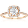 1 1/4 Ct Moissanite & Diamond Cushion Halo Engagement Ring 10k Rose Gold (I/J, I1-I2)