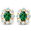 1.90CT Certified Lab Grown & Oval Imitation Emerald Diamond Earrings Yellow Gold (((G-H)), SI(2)-I(1))