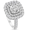 2 Ct Diamond Double Cushion Halo Engagement Ring 14K White Gold (G/H, I1-I2)
