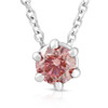 1/4Ct Pink Diamond Solitaire Floating Pendant 14k White Gold Lab Grown Necklace (Pink, SI(2)-I(1))