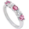 1 Ct Pink Diamond Five Stone Anniversary Wedding Ring 14k White Gold Lab Grown (((G-H)), VS1)
