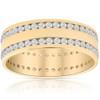 Mens 1 3/8Ct Diamond Eternity Ring 10k Yellow Gold Double Row High Polished (H/I, I1-I2)