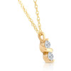 1/3Ct Diamond Two Stone Pendant in White Yellow or Rose Gold Lab Grown Necklace (G-H, VS1)