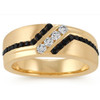 1 Ct TW Mens Black & White Diamond Wedding Band 10k Yellow Gold Ring (H/I, I1-I2)