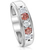 1 Ct T.W. Pink & White Lab Grown Diamond Mens Wedding Ring 5-Stone White Gold (Pink, SI(1)-SI(2))