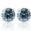 1 Ct T.W. Blue Lab Grown Diamond Studs 14K White Gold Earrings (Blue, SI(2)-SI(1))