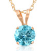 1/2Ct Lab Grown Blue Diamond Solitaire Pendant Necklace14k White or Yellow Gold (Blue, VS)