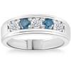 1 Ct T.W. Blue & White Diamond Mens Wedding Ring 5-Stone Anniversary White Gold (G/H, I1-I2)