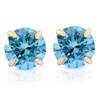 1/2ct Blue Lab Grown Diamond Studs 14K Yellow Gold Earrings (Blue, SI(1)-SI(2))