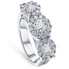 1 3/8 Ct Diamond Three Stone Halo Pave Engagement Ring White Gold (G/H, I1-I2)