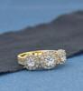 1 3/8 Ct Diamond Three Stone Halo Pave Engagement Ring Yellow Gold (G/H, I1-I2)