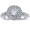 1 Ct TW Lab Grown Diamond Cushion Halo Engagement Ring in White Gold (G/H, SI(1)-SI(2))