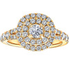 1 Ct TW Diamond Cushion Halo Engagement Ring in Yellow Gold (G/H, I1-I2)