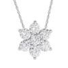 "1/2Ct 7-Stone Diamond Pendant 14k White Gold 18"" Necklace (H/I, I1)"