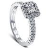 1/2 Ct TDW Diamond Cushion Halo Engagement Wedding Ring Set White Gold Lab Grown (((G-H)), VS1)