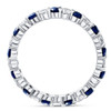 1 cttw Blue Sapphire Diamond Wedding Eternity Ring 10k White Gold (G/H, I1-I2)