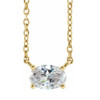 1/2Ct Oval Sideways Solitaire Lab Grown Diamond Necklace in White or Yellow Gold (((G-H)), SI(1)-SI(2))