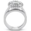 1 1/2ct Double Cushion Halo Real Diamond Engagement Wedding Ring Set White Gold (H/I, I1-I2)