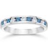 1/2ct Blue & White Diamond Channel Set Wedding Ring 14K White Gold (Blue, SI2)