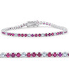 3ct Ruby & Diamond Tennis Bracelet 14 KT White Gold (G/H, I1)