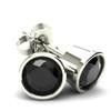 1.00Ct Round Brilliant Cut Heat Treated Black Diamond Stud Earrings in 14K Gold Round Bezel Setting (Black, AAA)