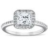 1 1/10ct Princess Cut Enhanced Diamond Engagement Halo Ring 14k White Gold ((G-H), SI(1)-SI(2))