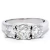 2 1/2ct Three Stone Diamond Ring 14K White Gold (H-I, I1-I2)